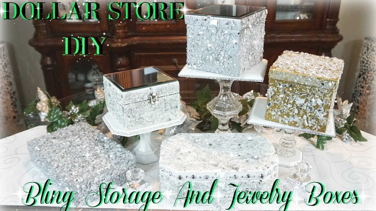 dollar store crafts decor diy dollar bling storage and jewelry boxes diy 10800