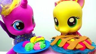 Игры #Пони День Рождения Принцессы СКАЙЛЫ! 🎂 Готовим Пирог #ПлейДО Видео Дети и Родители 👪