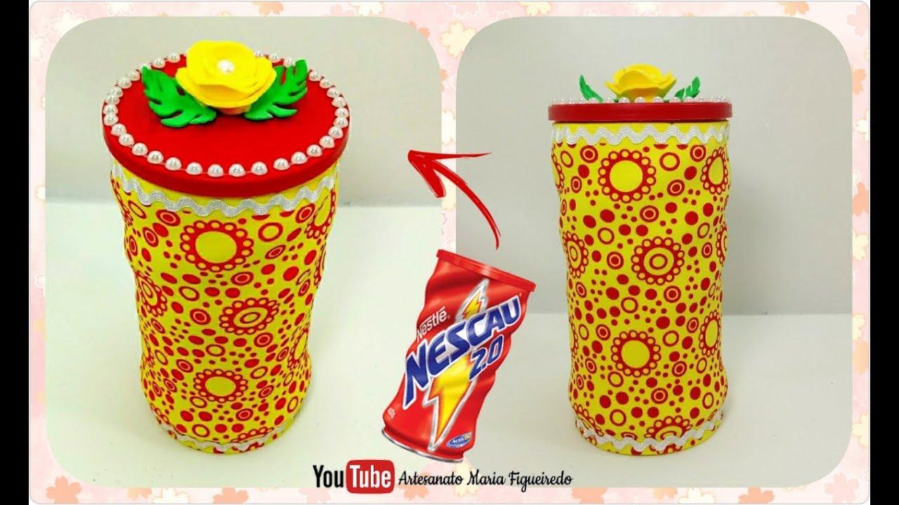 Lata Decorada - Reciclagem de lata de Nescau Artesanato com latas ...
