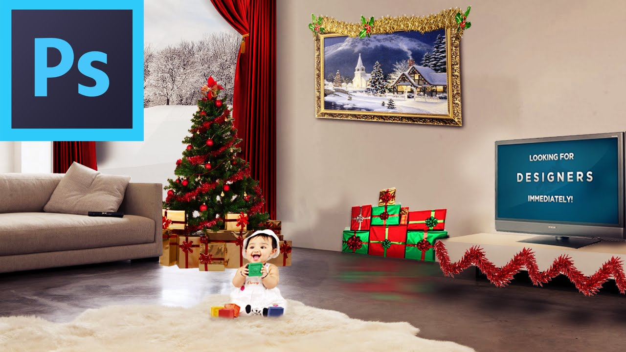 photoshop - how to decorate your room for christmas! - youtube