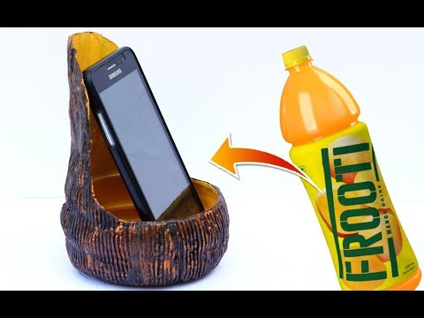 Easy best out of waste diy mobile stand plastic bottle for Best out of waste ideas for class 5 easy