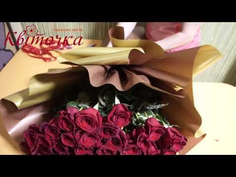 Упаковка букета в корейском стиле: 51 голландская роза