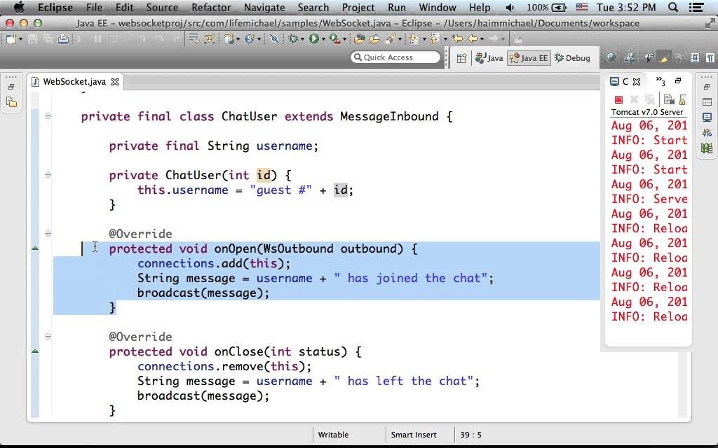 WebSockets API using Apache Tomcat Jump Start PRO