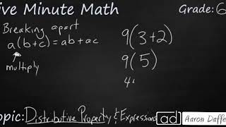 6th Grade Math Distributive Property and Expressions