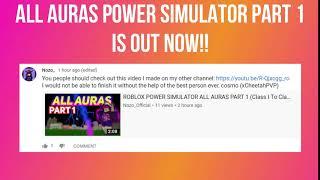 ALL AURAS ROBLOX POWER SIMULATOR ANNOUNCEMENT