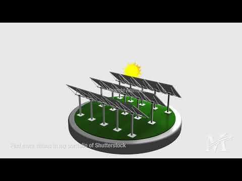 Solar panels following the path of the sun - Cinema 4D
