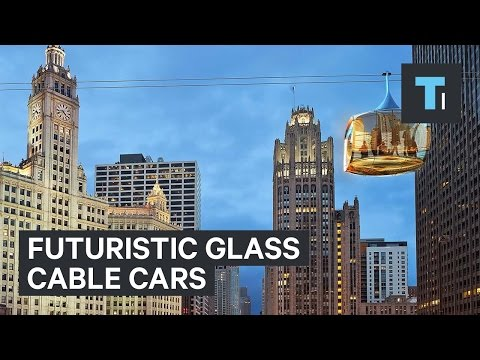 Futuristic glass cable cars