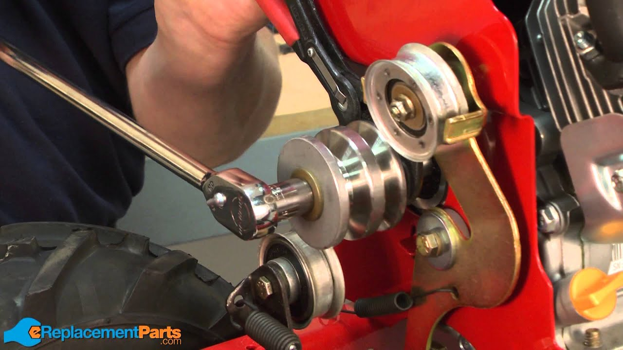 how to replace the engine pulley on a troy bilt super bronco tiller part 756 04198a  [ 1280 x 720 Pixel ]