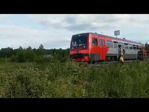 """Рельсовый автобус РА-1 сообщением Йошкар-Ола - Яранск отправляется с О. П. 137 км (сады """"Гигант"""")"""