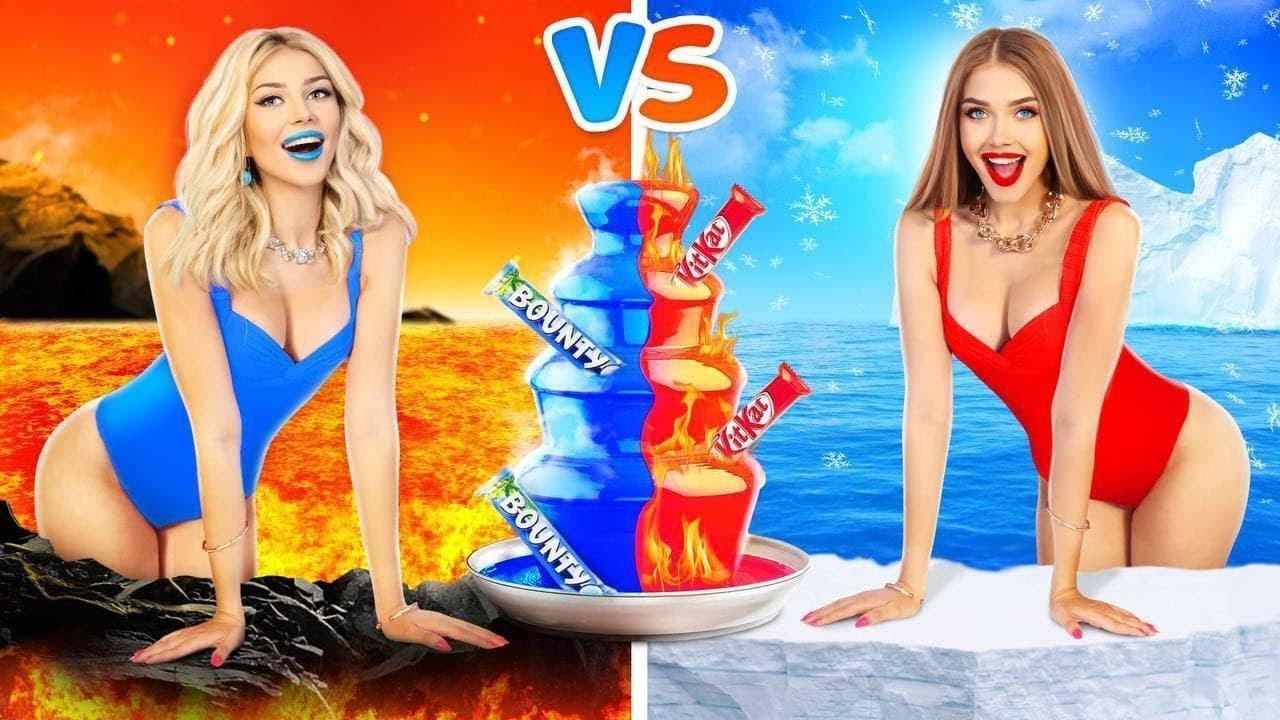 Desafio Alimentar: Quente vs Frio  | Momentos Divertidos Menina Fogo vs Menina Gelo por RATATA