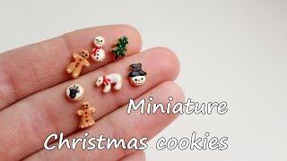 Miniature Christmas cookies. Tutorial.Polymer clay.Миниатюрное рождественское печенье.