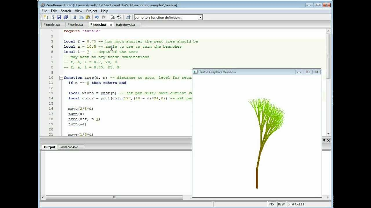 Live coding in Lua with ZeroBrane Studio - ZeroBrane