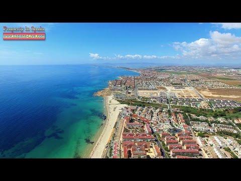 Полет над Испанией 4K, квадрокоптер DJI Phantom 3, пляж Mil Palmeras, Ориуэла Коста