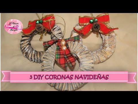 3 DIY CORONAS NAVIDEÑAS CON CARTON Y PAPEL red