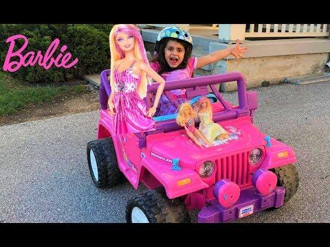 Sally Buys a Giant Barbie Dream Camper Van Vehicle Ride-On Power Wheel!!