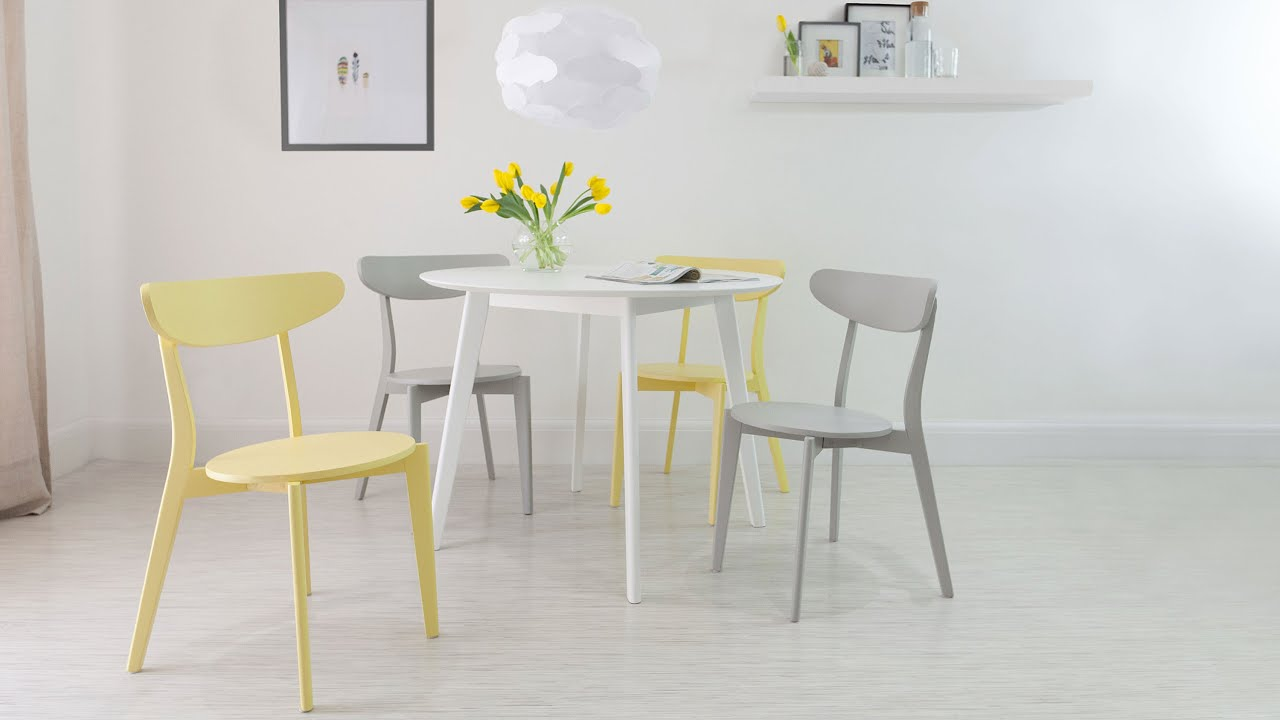 4 Seater White Round Dining Table and Modern Dining Chairs ...