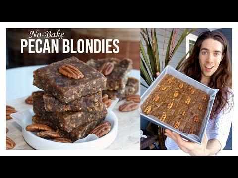Pecan Blondies | Healthy No-Bake Raw Vegan Vanilla Brownies | Dessert Recipe | Oil-Free ����✨