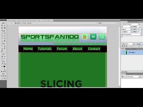Web Tutorial: How to slice your website template (images) in Adobe Fireworks!