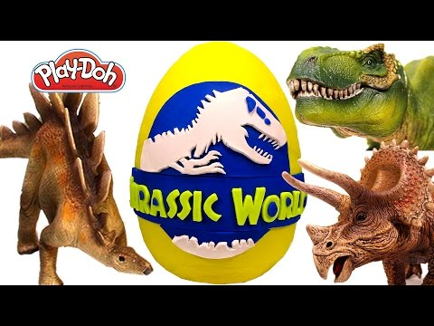 Thumbnail: GIANT Jurassic World Surprise Egg Play Doh – Learn Dinosaur Names with Surprise Eggs