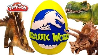 GIANT Jurassic World Surprise Egg Play Doh – Learn Dinosaur Names with Surprise Eggs