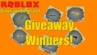Giveaway WINNERS  Roblox Dinosaur Simulator