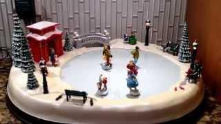 Mr. Christmas Holiday Skaters Winter Skating Pond Musical Video