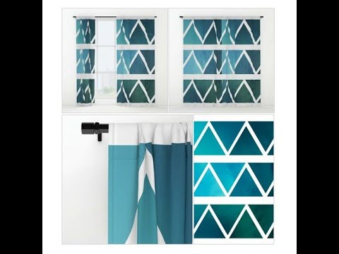 Window Curtains - Drapes - Blue Triangle Art - Modern - Blue