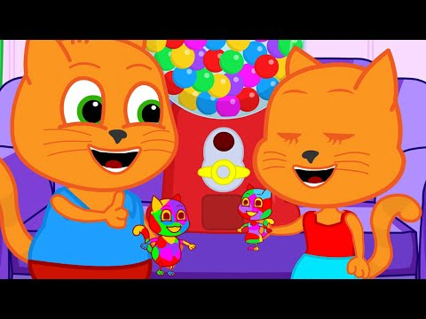 Cats Family In English - Gumball Machine For Creativity Cartoon For Kids