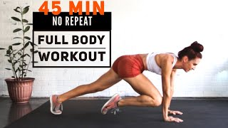 NO REPEAT 45 Mİn FULL BODY Workout// No Equipment/ //Warm up + Cool down/ Cardio and Strength