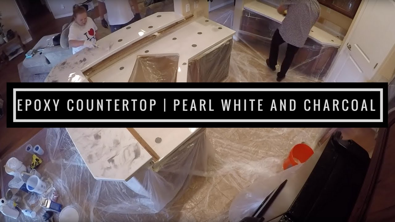 Countertop Resurfacing With Metallic Epoxy Pearl White