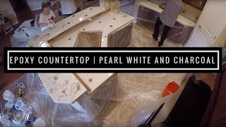 Countertop Resurfacing with Metallic Epoxy | Pearl White and Charcoal