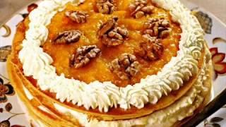 Блинный торт с кремом из кураги и взбитых сливок. Рецепт блинного торта.