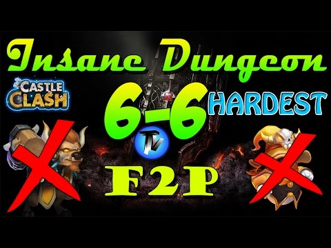 Castle Clash - Insane Dungeon 6-6 [F2P Heroes] Without Mino,sm