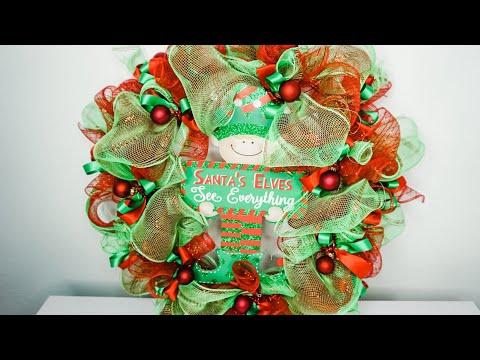 DIY: Christmas Deco Mesh Loopy Ribbon And Ornaments Elf Wreath    Dollar Tree