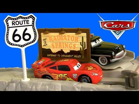 Cars Highway Hideout Route 66 Speed Trap Launcher Story Sets New 2015 DisneyPixarCars - YouTube
