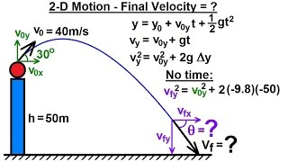 Physics - Mechanics: Projectile Motion (28 of 31) 2-D Motion: Final Velocity=? (Example 2)