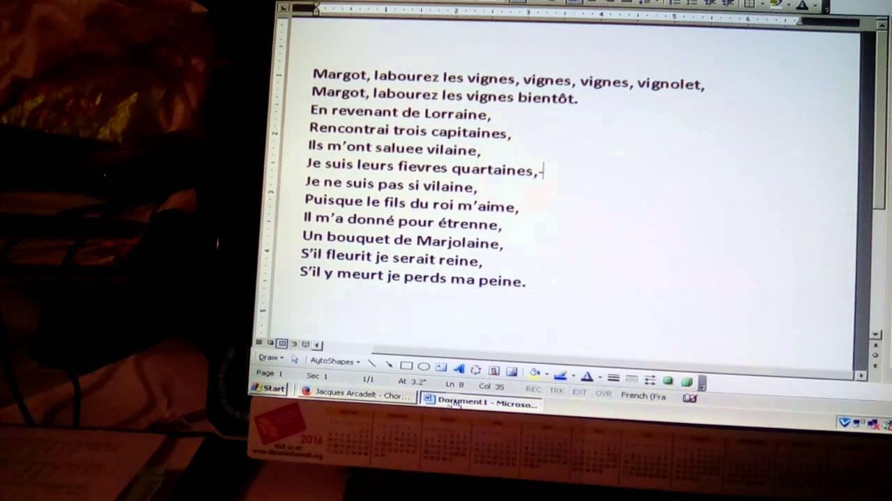 Arcadelt Margot Labourez slow pronunciation - YouTube