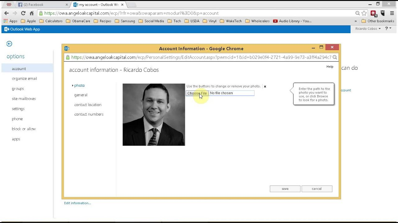 How To Add Your Photo To Your Outlook Web App Profile For