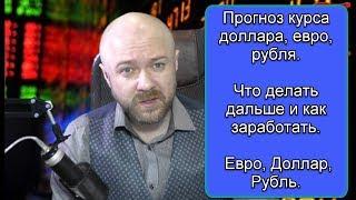 Прогноз курса валют доллара, евро, рубля. Что делать дальше и как заработать. Евро, Доллар, Рубль.
