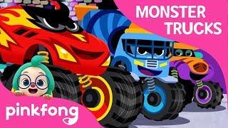 Monster Truck Race | Monster Trucks | Car Songs | Pinkfong Songs for Children