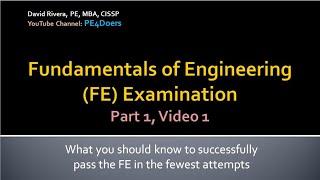 FE Exam Preparation Part 1, Vid 1