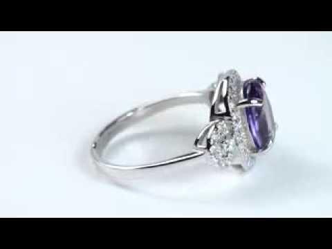 Кольцо серебряное с александритом Магнолия ПДК16АЛ
