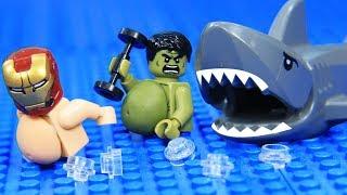 Lego Fat Avengers Gym Fail on Beach