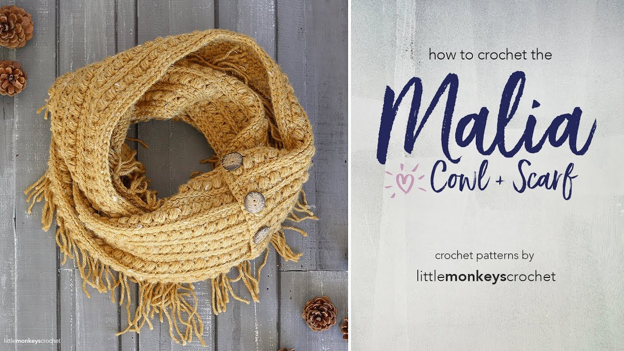 How to Crochet the Malia Buttoned Cowl + Infinity Scarf with Little ... 041b889d1e4