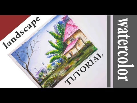 landscape painting | village | watercolor | drawing academy
