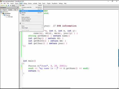 Explore the coding of a person Class in C++