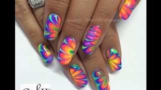 Neon Rainbow Water Marble Nail Art | China Glaze Electric Nights