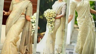 Kerala Christian white & Golden color wedding sarees/ dress