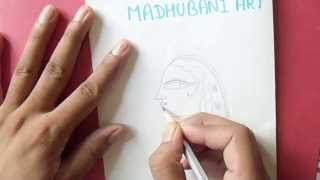 how to make madhubani painting,a girls face.
