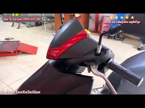 Sơn tân trang mới xe Airblade 2008 từ màu đỏ đen zin thành màu đỏ đen nhám sang trọng cá tính